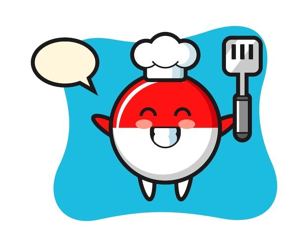 Ilustración de personaje de insignia de bandera de indonesia como chef está cocinando