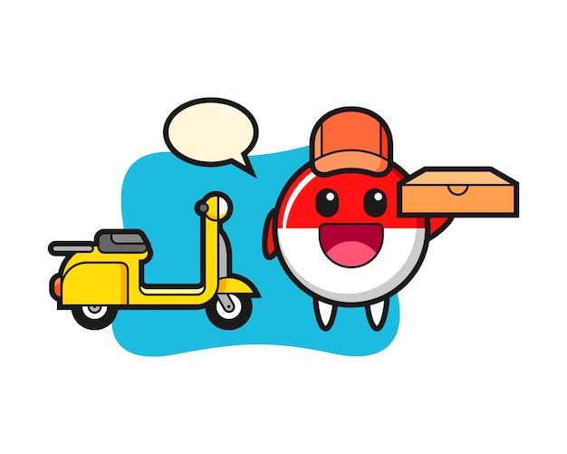 Ilustración de personaje de la insignia de la bandera de indonesia como repartidor de pizzas