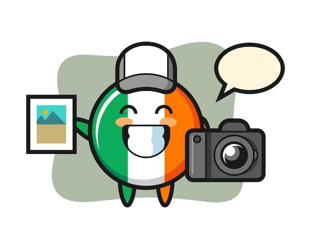 Ilustración de personaje de la insignia de la bandera de irlanda como fotógrafo