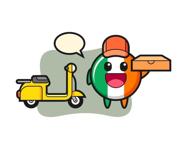 Ilustración de personaje de la insignia de la bandera de irlanda como repartidor de pizzas