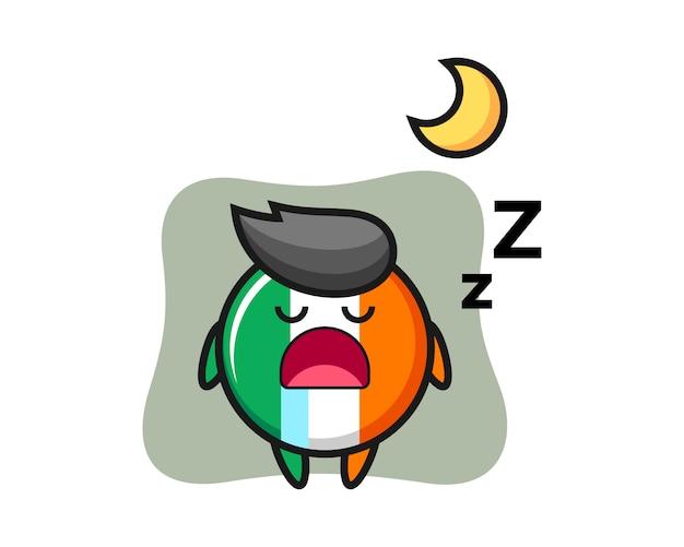 Ilustración de personaje de insignia de bandera de irlanda durmiendo por la noche