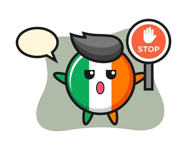 Ilustración de personaje de insignia de bandera de irlanda con una señal de stop