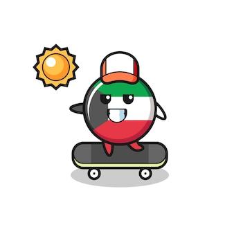Ilustración de personaje de insignia de bandera de kuwait andar en patineta, diseño lindo