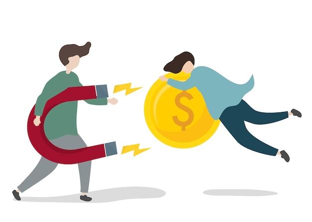 Ilustración de personaje con inversión empresarial.