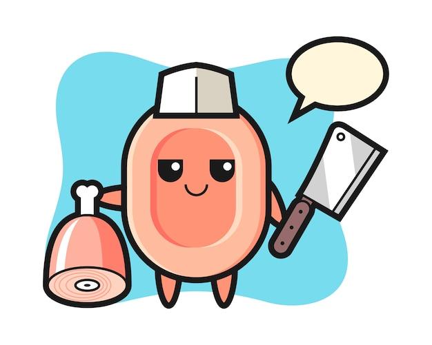 Ilustración del personaje de jabón como carnicero, estilo lindo para camiseta, pegatina, elemento de logotipo
