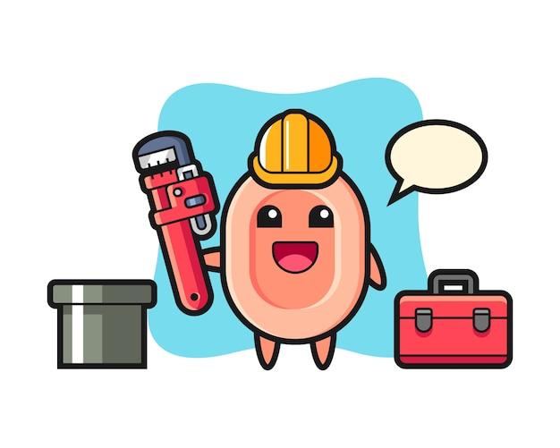Ilustración de personaje de jabón como fontanero, estilo lindo para camiseta, pegatina, elemento de logotipo