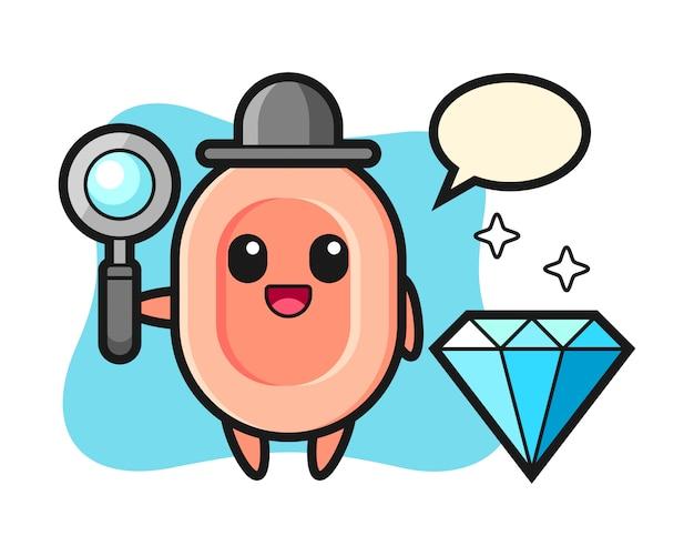 Ilustración del personaje de jabón con un diamante, estilo lindo para camiseta, pegatina, elemento de logotipo