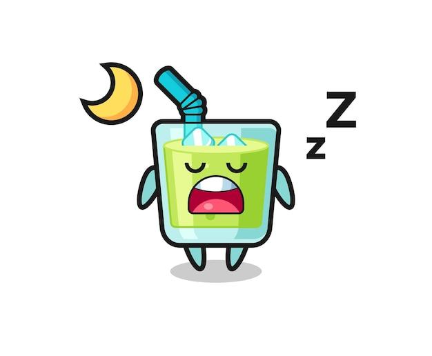 Ilustración de personaje de jugo de melón durmiendo por la noche, diseño de estilo lindo para camiseta, pegatina, elemento de logotipo