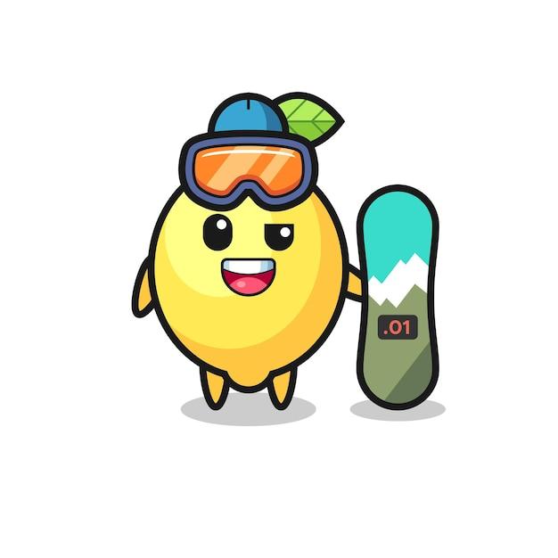 Ilustración del personaje de limón con estilo de snowboard, diseño de estilo lindo para camiseta, pegatina, elemento de logotipo