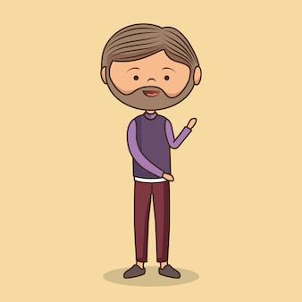 Ilustración de personaje lindo caballero