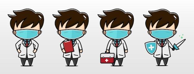 Ilustración de personaje lindo doctor coronavirus
