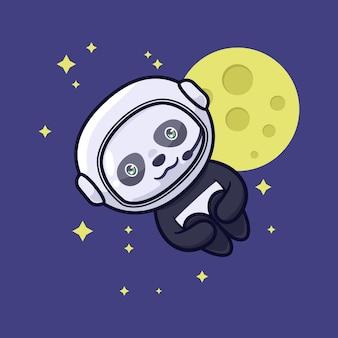 Ilustración de personaje lindo panda astronauta