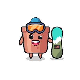 Ilustración del personaje de maceta con estilo de snowboard, diseño de estilo lindo para camiseta, pegatina, elemento de logotipo