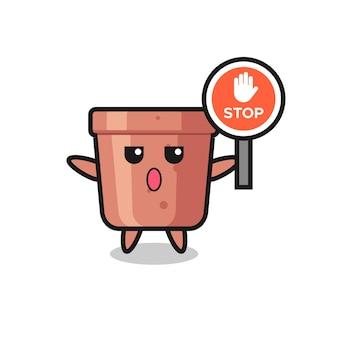 Ilustración de personaje de maceta con una señal de stop, diseño de estilo lindo para camiseta, pegatina, elemento de logotipo
