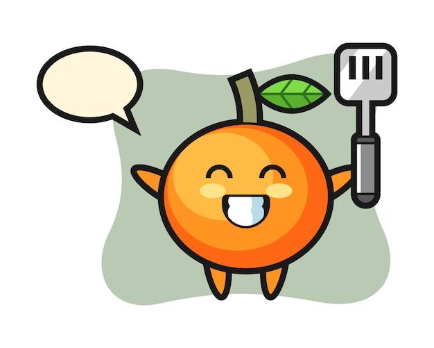 La ilustración del personaje de mandarina como chef está cocinando, estilo lindo, pegatina, elemento de logotipo
