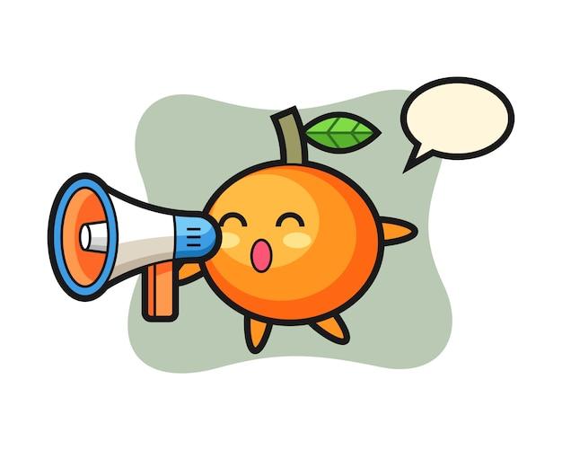Ilustración de personaje de mandarina sosteniendo un megáfono, estilo lindo, pegatina, elemento de logotipo