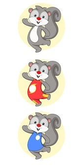 Ilustración de personaje de mascota de ardilla
