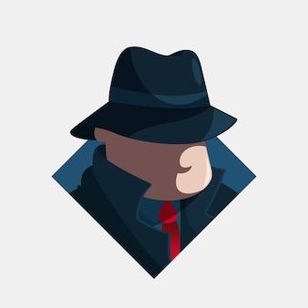 Ilustración de personaje misterioso de la mafia
