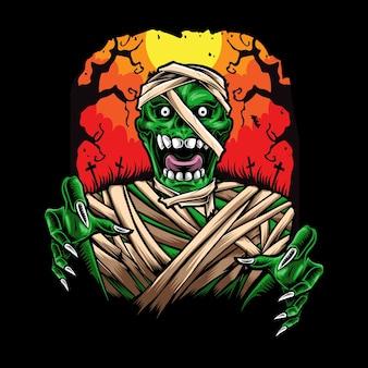 Ilustración de personaje de momia aterradora