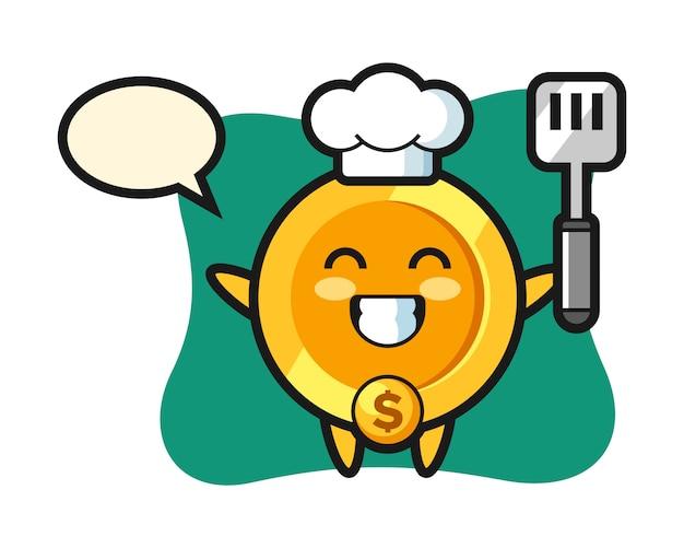 Ilustración de personaje de moneda de dólar mientras un chef está cocinando