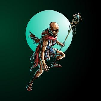 Ilustración de personaje de monje luchador