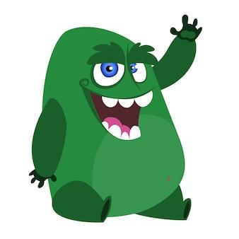 Ilustración de personaje de monstruo de dibujos animados enojado