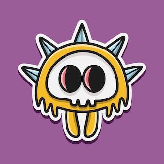 Ilustración de personaje de monstruo kawaii doodle