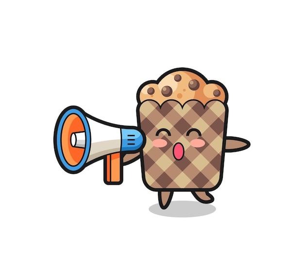 Ilustración de personaje de muffin sosteniendo un megáfono, diseño lindo