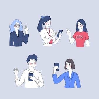 Ilustración de personaje de mujer y hombre de negocios