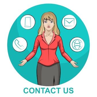 Ilustración de un personaje de mujer de negocios rubia con infografía en contacto con nosotros