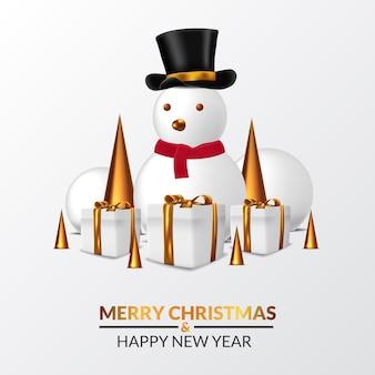 Ilustración del personaje de muñeco de nieve para la temporada de invierno con el presente paquete de caja de regalo y decoración de cono dorado para navidad y feliz año nuevo.