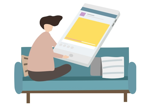 Ilustración de personaje navegando por internet.