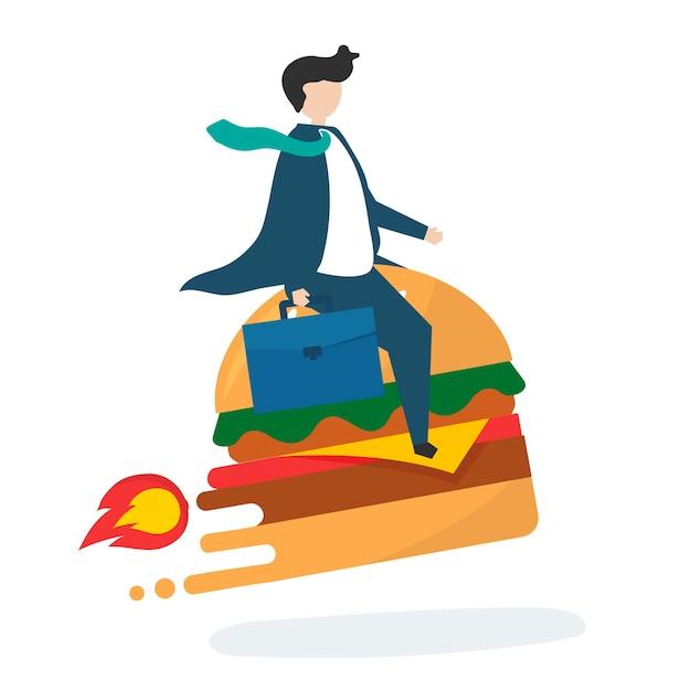 Ilustración de personaje de negocios con comida rápida.