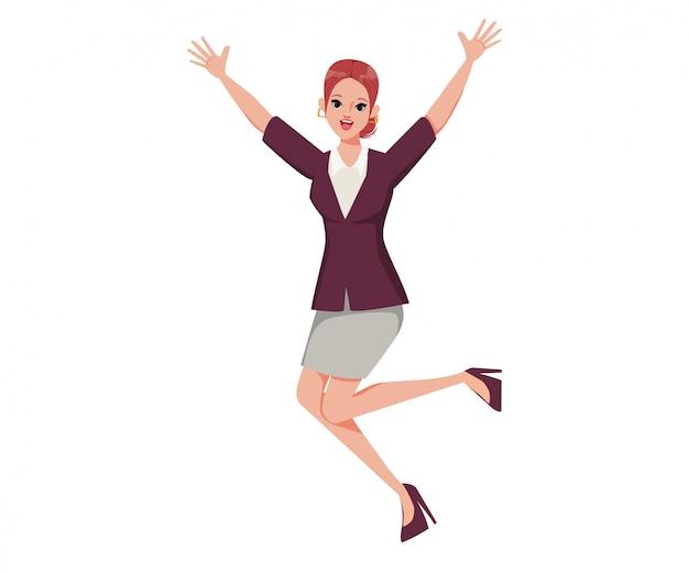 Ilustración de personaje de niña feliz saltando cartoon flat young woman.