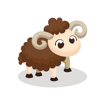 Ilustración del personaje de ovejas lindo con estilo de dibujos animados