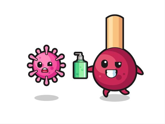 Ilustración del personaje de partidos persiguiendo virus malvados con desinfectante de manos, diseño de estilo lindo para camiseta, pegatina, elemento de logotipo