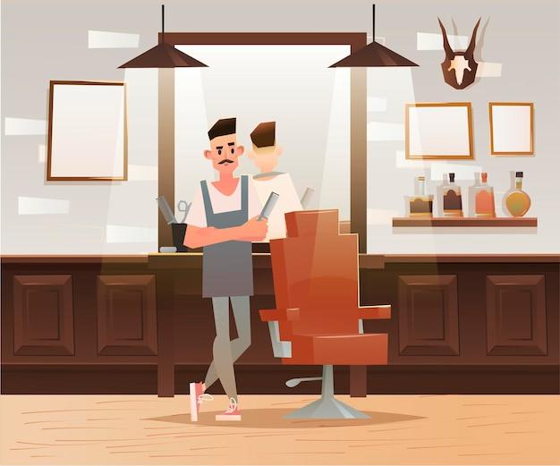 Ilustración de personaje de peluquero de hipster de dibujos animados