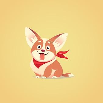 Ilustración de personaje de perro lindo vector. estilo de dibujos animados. cachorro corgi hambriento feliz con lengua fuera. mascota.