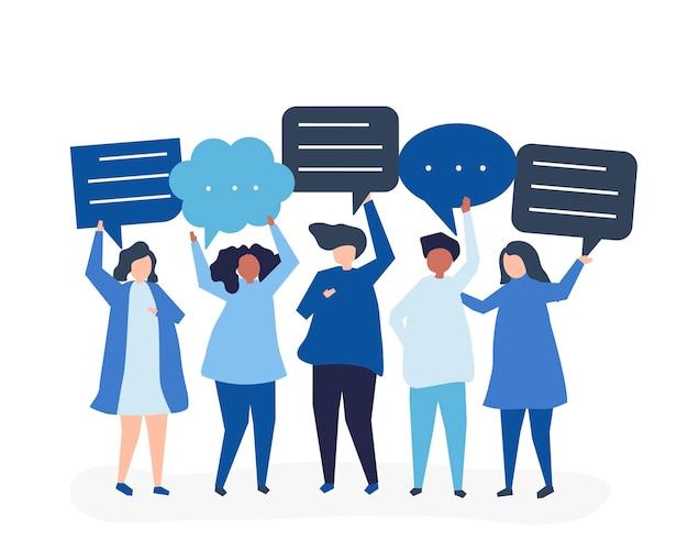 Ilustración de personaje de personas con burbujas de discurso
