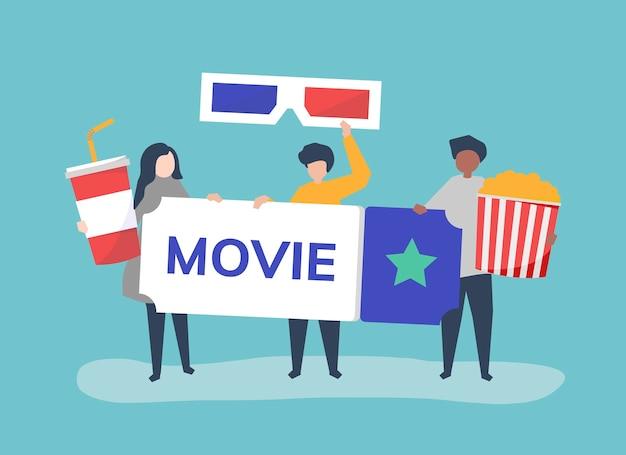 Ilustración de personaje de personas con icono de películas