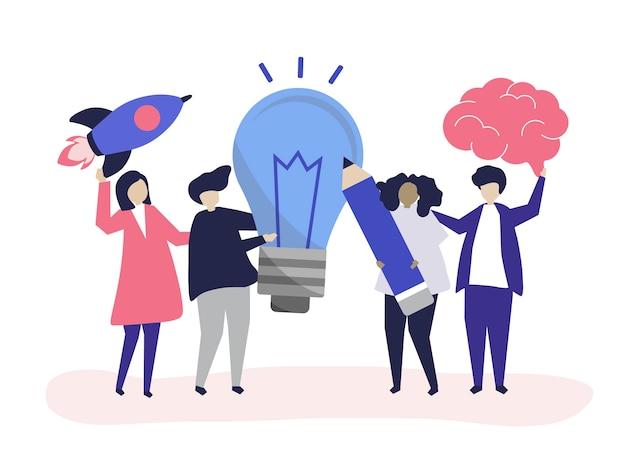 Ilustración de personaje de personas con iconos de ideas creativas