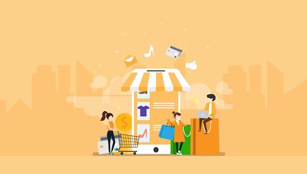 Ilustración de personaje de personas pequeñas de comercio electrónico de compras en línea