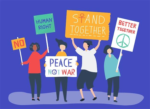 Ilustración de personaje de personas portando carteles de protesta