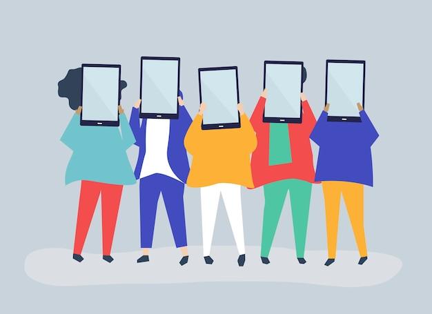 Ilustración de personaje de personas que tienen tabletas digitales