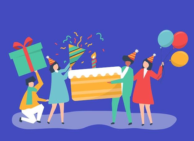 Ilustración de personaje de personas sosteniendo iconos de fiesta de cumpleaños