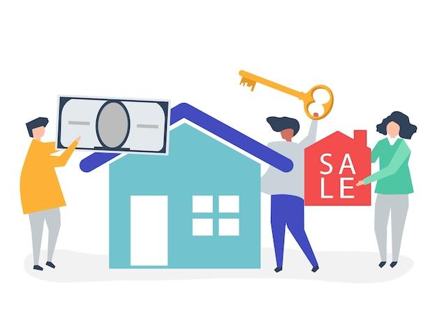Ilustración de personaje de personas vendiendo casa