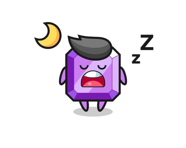 Ilustración de personaje de piedra preciosa púrpura durmiendo por la noche, diseño de estilo lindo para camiseta, pegatina, elemento de logotipo