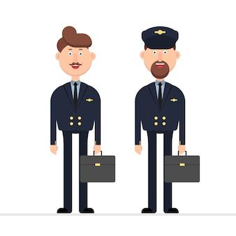 Ilustración de personaje piloto de avión aislado en blanco