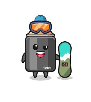 Ilustración del personaje de pintura en aerosol con estilo de snowboard, diseño de estilo lindo para camiseta, pegatina, elemento de logotipo