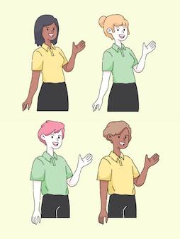 Ilustración de personaje de presentación de dibujos animados lindo personas